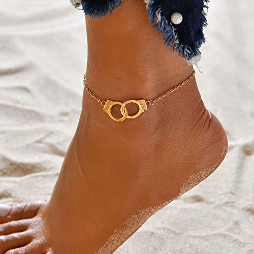 Forall Gold Handschellen Fußkettchen Sommer Knöchel Armband Boho Schmuck Strand Fußkettchen Kette Verstellbar Für Frauen Mädchen Freunde
