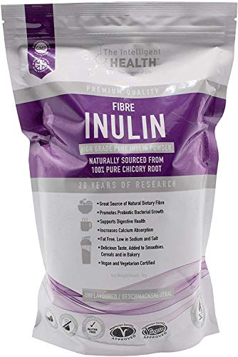 Inulin Powder with Chicory Root 1kg Prebiotic Fibre Supplement - Gluten Free High Grade Digestive Aid & Gut Health Supplement (Fructooligosaccharide FOS) Soluble Fibre Smoothie Powder for All Drinks