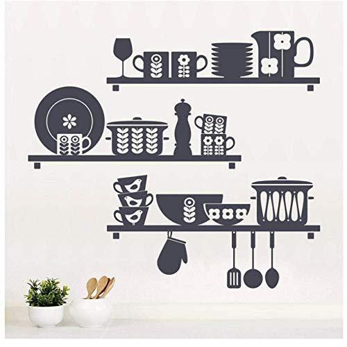 Scandinavische keuken Vinyl Sticker keuken schotel Cup pot lepel mes muurschildering Art Decal behang huisdecoratie waterdicht 65X57Cm