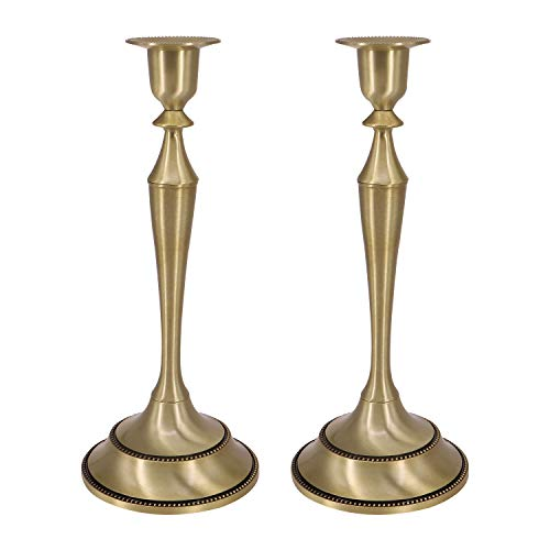 QTKJ - Juego de 2 portavelas de metal dorado de latón para decoración de mesa de comedor, centro de mesa, candelabro alto, soporte para cena, boda, decoración del hogar
