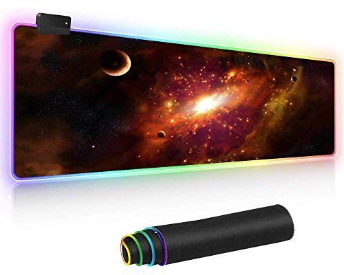 Athyior RGB Gaming muismat, XXL Extended LED Verlichting Muismat,Non-Slip Glad oppervlak, Mousepad Voor Gamer Computer PC en Laptop,80cm x 30cm x 4cm Gouden Galaxy