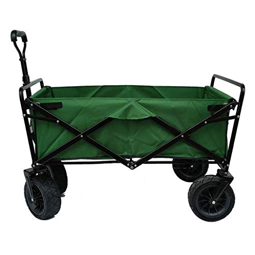 LIYONG Storage Trolleys Folding Garden Trolley Cart Multi-Function Shopping Cart Heavy Duty Wagon for Outdoor Camping Photography Pull Truck, Load: 100Kg,Purple HLSJ (Color : Green)
