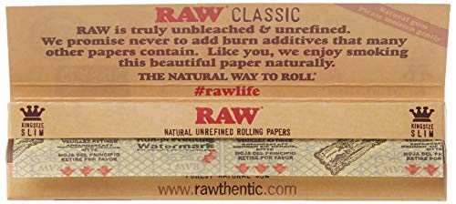 RAW Classic King Size Slim Rolling Paper 5 Packs, Brown