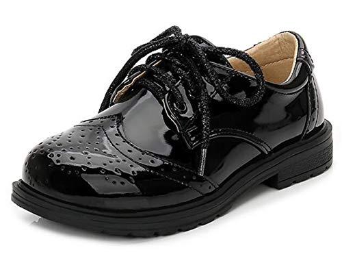 DADAWEN Herren Schnürhalbschuhe Jungen Schule Uniformschuhe Wasserdicht Sneaker Brogues Lack Anzugschuhe