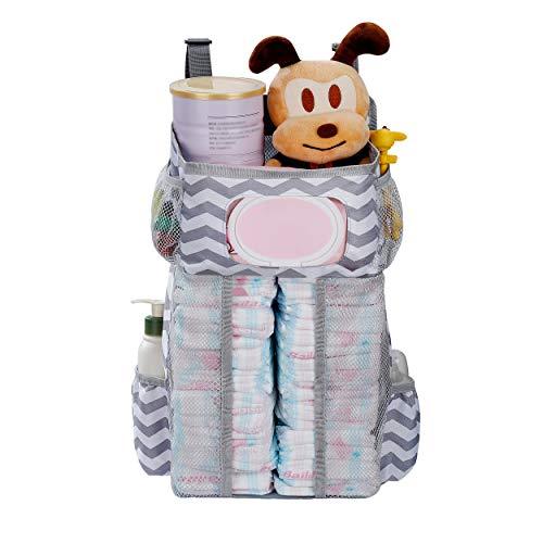 Windel Organizer Baby Windel Caddy Organizer Hängende Crib Organizer mit Taschen und Fächern für Windeln Puder Schnuller Spielzeug