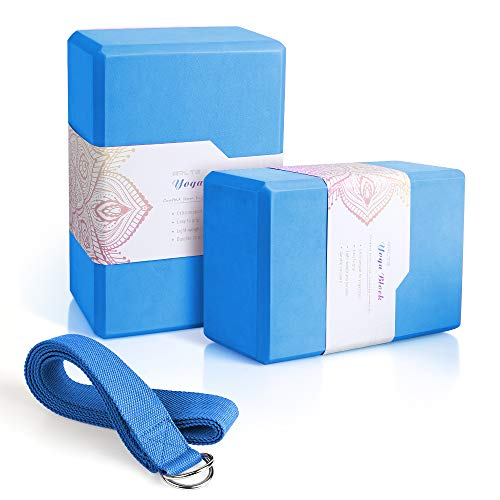 "Arltb Yoga Block 2 Pack Yoga Bricks 9"" x 6""x 4"" with Metal D-Ring Yoga Strap Combo Set, Eco-Friendly EVA Foam Exercise Yoga Blocks, Improve Stability and Balance, Lightweight - Odor Resistant"