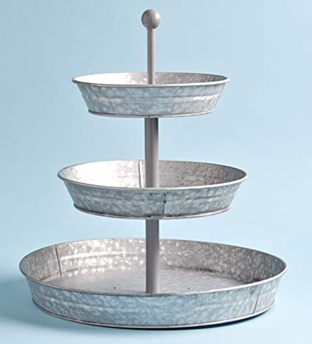 GetSet2Save Vintage Galvanized 3 Tier Serving Tray Rustic Country Farmhouse Kitchen, one size, Silver