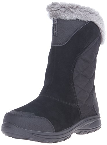 Columbia Women's ICE Maiden II Slip Snow Boot, Black/Shale, 9