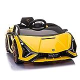 TOBBI Licensed Lamborghini Sian Plastic 12V Children's Electric Ride On Car Toy w/ Swing-Up Scissor Door, Remote Control, Shock-Absorbing Wheels, Safe, Gift, Yellow