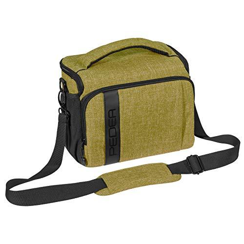 PEDEA DSLR-Kameratasche Fashion Fototasche für Spiegelreflexkameras mit wasserdichtem Regenschutz, Tragegurt und Zubehörfächern (Größe XL, grün)