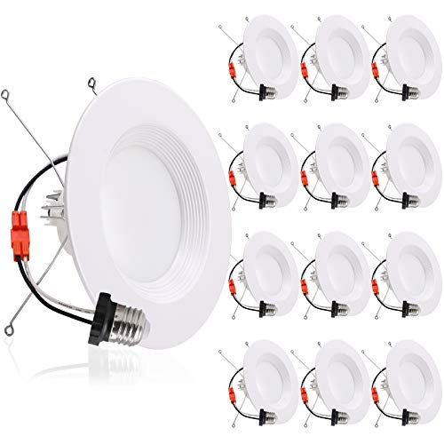 Dimmable LED Recessed Lighting 5/6 Inch Downlight, 12W=150W, Warm White 3000K, 1000LM, Energy Star & ETL, Simple Retrofit Installation, Baffle Trim, Damp Rated, 12 Pack