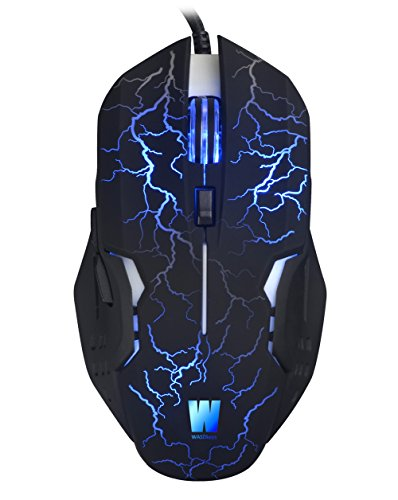 WASDkeys M200 Gaming Maus Pro Laser USB LED (ergnonomisch, Präzise, mit Beleuchtung, 2500 dpi, 6 Tasten Gamer Mouse, Software & On-Board Memory, für PC, Computer, Laptop, Macbook), schwarz