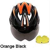 CZCJD Fahrrad Helme3 Linsen Fahrradhelm Rennrad Schutzhelm Mit Brille Ultraleichter In-Mould Rennradhelm,2Black Orange 2 Linsen,M