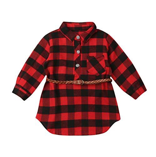 Loalirando Kleinkinder Baby Mädchen Kariert Hemd Langarmshirt Baumwolle Karohemd Herbst Winter (D-Kleid, 3-4 Jahre)