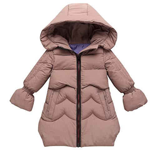 heavKin-clothes 3-8T Kids Baby Girls Thicken Cotton Coat Hooded Padded Outerwear Winter Court Sleeve Wadded Jacket (Khaki, 5-6 Years)