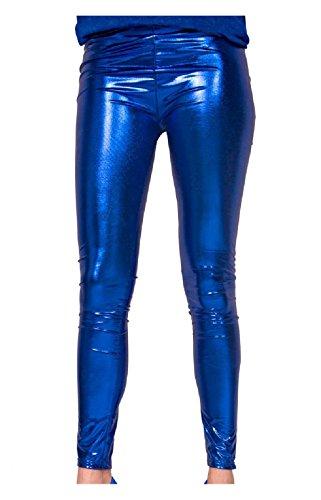 Folat 61719 -Legging Metallic Blau, L-XL, blau