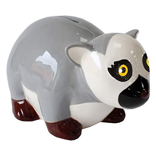 Critters Ring Tailed Lemur Money Box de la Loza de Deluxebase. Banco de ahorros formado Lindo, Animal de la Novedad para los niños y Adultos.