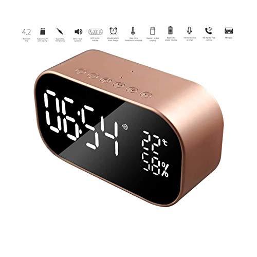 TQJ Despertadores Digitales Alarma electrónica altavoz Bluetooth despertador, Radio Digital Relojes de noche con altavoces estéreo, radio FM, Bluetooth 4.2, regulable, Snooze Despertadores Digitales V