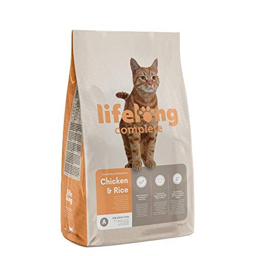 Marque Amazon - Lifelong Complete- Croquettes complètes pour chats adultes, riche en poulet et riz, 1 x 10 kg