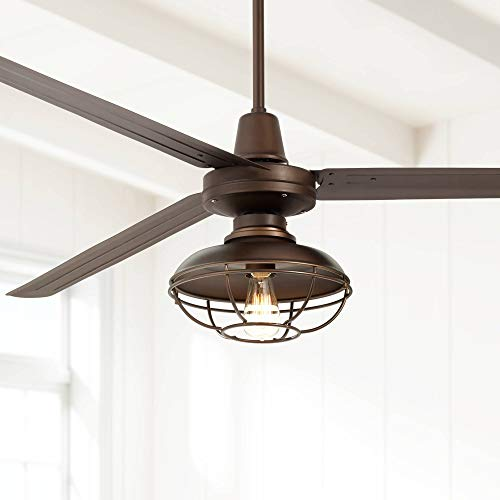 "72"" Turbina XL Franklin Park Industrial Outdoor Ceiling Fan with Light LED Remote Control Oil Rubbed Bronze Cage Damp Rated for Patio Porch - Casa Vieja Casa Ceiling Fans Free Shipping Vieja"