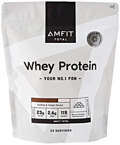 Marchio Amazon - Amfit Nutrition Proteine del Siero di Latte in Polvere 1kg - Crema e Cookies (precedentemente marchio PBN)