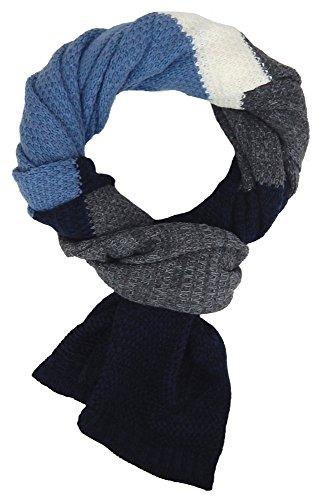 Ella Jonte Écharpes foulard d'homme hiver élégant et tendance de la dernière collection by Casual-style bleu gris blanc