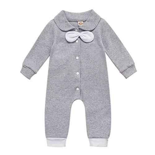 Weilov Infant Bowknot Barboteuse Garçons Combinaison à Manches Longues Vêtements Bébé Tenues Confortables Combinaisons Simples Avec Col De Poupée Pour Les Filles