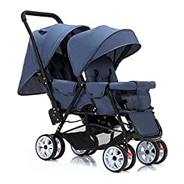 JIAX Tandem Double Stroller for Infants, Toddlers or – 360° Turning, Footrest, 5 Points Safety Belts, Foldable Design for Easy Transportation