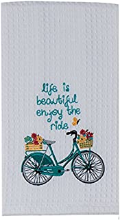 Kay Dee Designs Enjoy The Ride Embroidered Bicycle Waffle Towel, Blue
