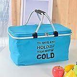 CTOBB Große isolierte Tasche, faltbar, Picknickkorb, wiederverwendbar, isoliert, Einkaufstasche, für Handtaschen, blau
