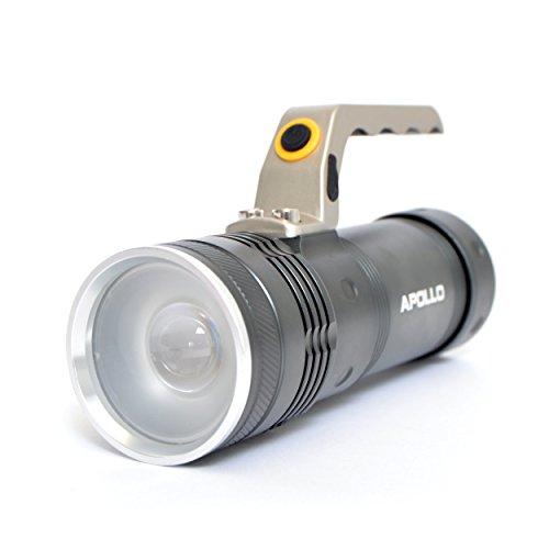 Linterna Apollo Torch Police LED, Color: negro, incl. bateria, cargador, cargador para coche