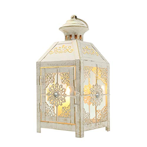 JHY DESIGN Decorative Lantern 9.5' High Metal Candle Lantern Vintage Style Hanging Lantern for Wedding Parties Indoor Outdoor(White with Gold Brush)