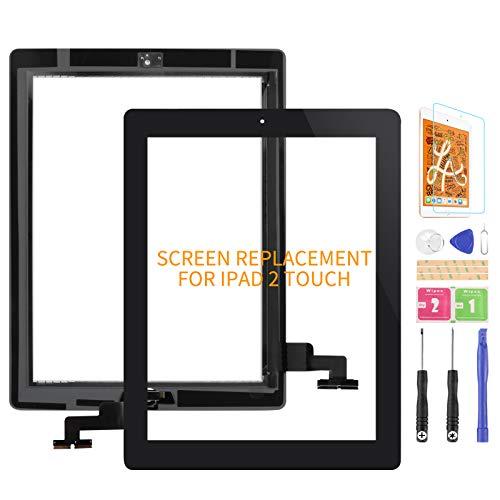 Kit de piezas de repuesto para iPad 2 de 2ª generación A1395 A1396 A1397 de pantalla táctil de repuesto para panel de reparación, con botón de inicio (no incluye LCD) (negro)