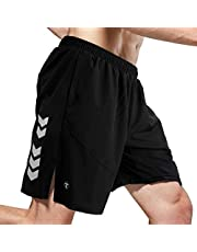 TOMSHOO Pantalones Cortos Deportivos para Hombre Shorts Running Secado Rápido Transpirable Suelto de Gran Tamaño Baloncesto Playa con Tres Bolsillos con Cremallera