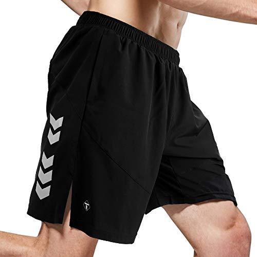 TOMSHOO Sporthose Herren Kurz Laufshorts Jogginghose Trainingsshorts mit Reißverschlusstaschen hinten für Sport Schwarz(M)