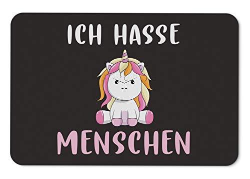 Tassenbrennerei Fußmatte Ich Hasse Menschen mit Einhorn - Türmatte mit Spruch lustig - für innen & außen waschbar - Deutsche Qualität