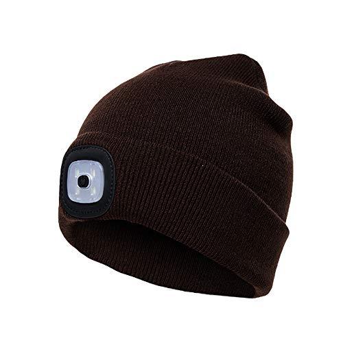 TYZY Strickmütze LED-Licht Kappe Winter Keep warme Mütze Kopfbedeckung mit Removable-Knopf-Batterie für Outdoor Angeln Laufen Klettern Gehen Nacht,Kaffee