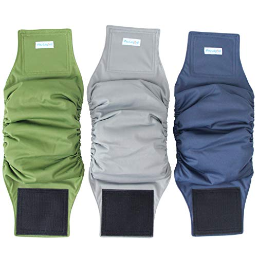 Paw Legend Washable Dog Belly Wrap Diapers for Male Dog (3 Pack,Army,Grey,Navy,Small)