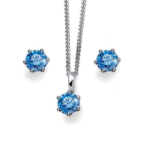 Oliver Weber Collection Juego de collar y pendientes para mujer, plata de ley rodiada brillante. Colección de joyas de primera calidad, colgante con circonita Swarovski