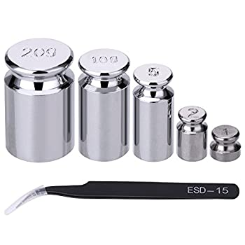 TOODOO 1g 2g 5g 10g 20g Gram Set for Digital Scale Balance and 1 Piece Calibration Weight Tweezer Silver