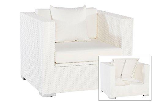 OUTFLEXX exklusiver Lounge Sessel aus hochwertigem Poly-Rattan in weiß, ca. 90 x 85 x 70 cm, mit Kissenboxfunktion, inkl. weichen Kissen Polster, Gartenstuhl, vielseitig kombinierbar, wetterfest