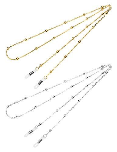 Mini Tree Brillenketten für Lesebrillen Perlen Brillenband Damen Lesebrille Brille Kette Sonnebrillen Band Cords Hals Cord Strap (Gold+Silber)