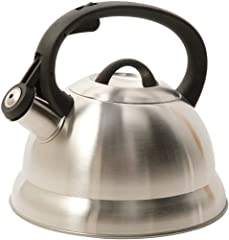 Solid stainless steel constructed teakettle Whistling teakettle alerts when water is boiling recommend you to move after Whistle has been blown Flip-up spout cover for safe and easy pouring and a stay cool trigger for safety Hand wash recommended Nyl...