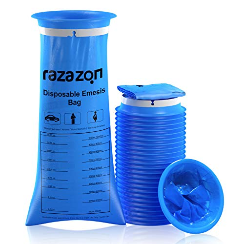 RAZAZON Emesis Vomit Bags Disposable 24Pack - Medical Grade, Portable Throw Up Bags, Barf Bags for Car, Taxi Drivers, Puke Bags Disposable for Kids, Pregnant, Adult, Travel Motion Sickness & Nausea
