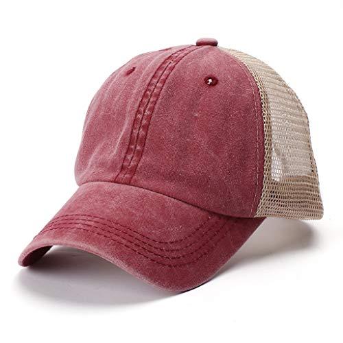 aijofi Mesh Baseball Cap Damen Sport Caps Mode Einfarbig Baseballkappe Outdoor Visor Cap Waschbar Atmungsaktiv Kappe Sonnenschutz Unisex Schirmmütze
