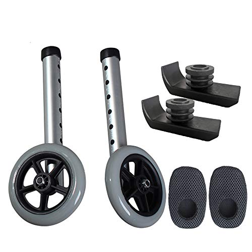 Walker Wheels and Ski Glides - Replacement Feet - Accessories Parts Set for Folding Medical Walkers - Universal Front, Back Stability Safety Wheel - Includes 2 Glide Tips, Two 5 Inch Rubber Wheel