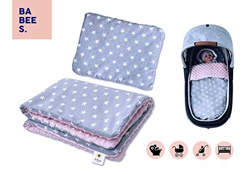 BABEES© SET MINKY Decke 75x60 + Kissen 35x30 Baumwolle Plüsch (Sterne grau rosa) für Kinderwagen Stubenwagen oder Wiege Garnitur Bettwäsche