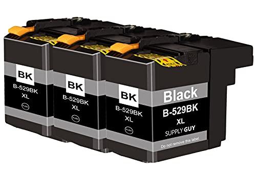 SupplyGuy 10 Cartuchos Compatible con Brother LC-529 Negro para DCP-J100 DCP-J100 Series DCP-J105 MFC-J200