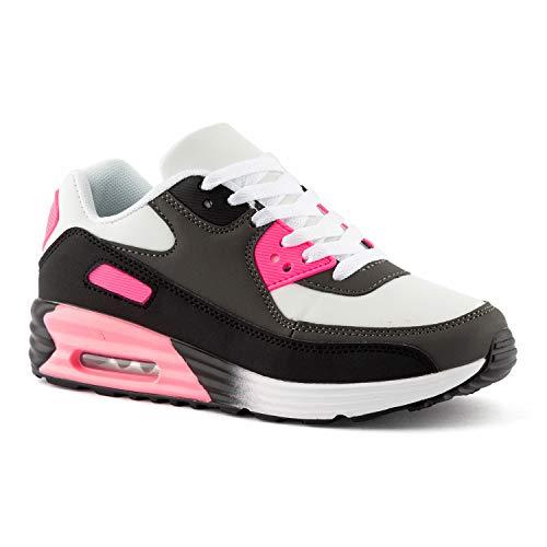 FiveSix Herren Damen Sportschuhe Dämpfung Sneaker Laufschuhe Schwarz/Grau/Fuchsia/Pink-W EU 36