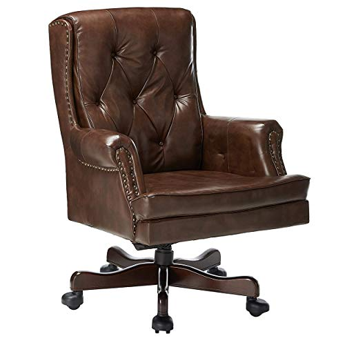 Halter HAL-070 Executive Grain Cow Leather, Home Computer Desk CEO, Metal Base w/Wood Caps-Supports 500LBS Office Chair